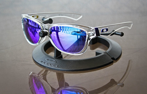 oakley jupiter polished clear with violet iridium lens