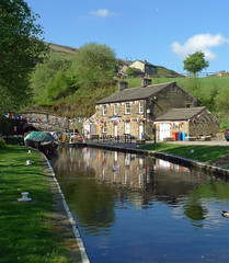 Entrance to Standedge Tunnel (jrw080578) Tags: trees buildings reflections boats canal yorkshire tunnel huddersfieldnarrowcanal canalsidehouse