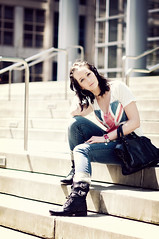 [the perfect space] (lempel_ziv) Tags: seattle summer portrait england woman color girl fashion stairs outfit steps style jeans british unionjack unionflag brit hoopearrings balenciaga combatboots wavyhair edgy militaryboots