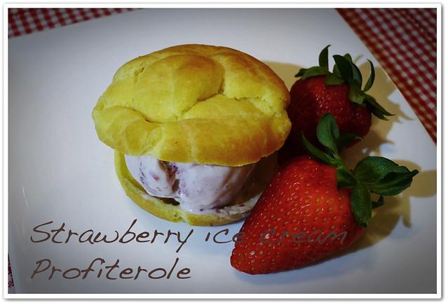 Strawberry Ice Cream Profiterole