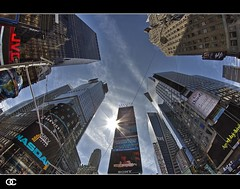 Time Square 9 (OC Photographie) Tags: new york sky usa sun buildings square lights soleil pub time manhattan united fisheye states hdr unis advertise amrique etats