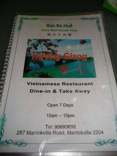 Huong Giang Menu