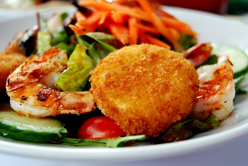 Salad with Fried Goat Cheese and Grilled Shrimp