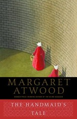 The Handmaid's Tale book cover: An illustration of two women in red robes and white bonnets