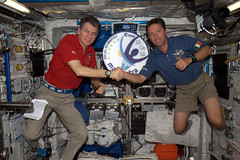 Space relay race between @astro_paolo and Roberto Vittori... (magisstra) Tags: nasa astronauts iss esa internationalspacestation earthfromspace europeanspaceagency paolonespoli robertovittori sts134 expedition27 magisstra europeancolumbuslaboratory