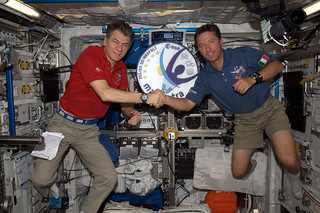 Space relay race between @astro_paolo and Roberto Vittori...