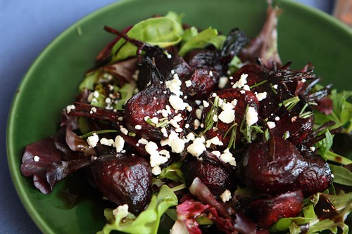 Roasted Satur Farms Baby Beets with Balsamic Glaze and Feta