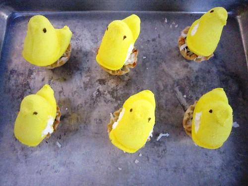 Peeps on the pan before baking