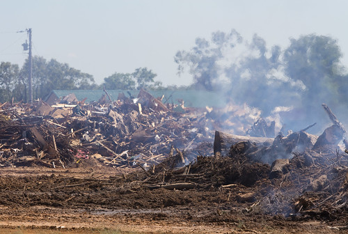 Burning Post-Tornado Debris