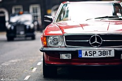 Merc (Rick Nunn) Tags: street red black london car mercedes benz cab rick nunn merc 450slc canonef135mmf2l coupetaxi