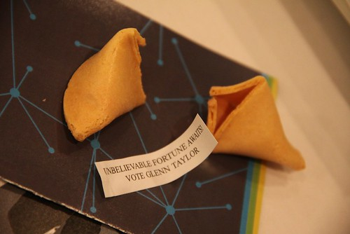 A campaign fortune cookie from the campaign of Glenn Taylor, who won the Alberta Party leadership on May 28, 2011 at the Shaw Conference Centre in Edmonton.