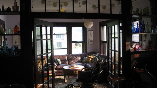 View through french doors