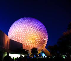 Spaceship Earth at the End of the Blue Hour (Paul Gowder) Tags: blue epcot nikon florida earth spaceship bluehour wdw waltdisneyworld sse d700 nikond700