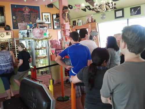 Voodoo Doughnut line. Legendary!