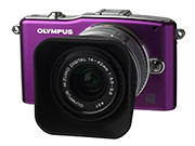 Olympus PEN E-PM1, with the 14-42 mm II R kit lens and retro lens hood.