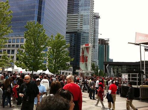 Pretty packed outside Canada Place #happycanadaday