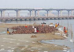 Pilgrims Bathing In Ganges, Maha Kumbh Mela, Allahabad, India (Eric Lafforgue Photography) Tags: travel bridge people india tourism water festival river outdoors photography togetherness bath asia day adult religion ceremony bank celebration event spirituality bathing riverbank hinduism pure pilgrimage religiouscelebration pilgrim traditionalculture sangam humaninterest allahabad socialgathering haridwar purification gangesriver yamunariver uttarpradesh realpeople kumbhmela traveldestinations colorimage indianculture uttarakhand 5233 largegroupofpeople highangleview indiansubcontinent celebrationevent traditionalceremony indianethnicity