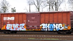 Fume Phone (Rurnt) Tags: railroad train bench phone painted rail mc boxcar freight fume esc wh kbt weedheads