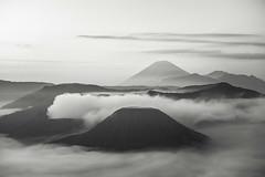 A Monotone Sunrise (BoXed_FisH) Tags: blackandwhite bw mist sunrise indonesia landscape volcano java day sony voigtlander ngc monotone clear bromo semeru batok colorskopar sonya7 flickrtravelaward