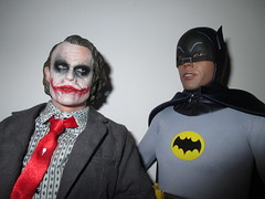Heath Ledger Joker and Adam West 1966 Batman  9182 (Brechtbug) Tags: show nyc blue man black hot west adam film television yellow dark comics movie toy toys grey book dc costume tv 60s comedy do comic with serious action gray bat battle 1966 national heath figure batman joker knight about why 1960s sideshow detective 2014 ledger so