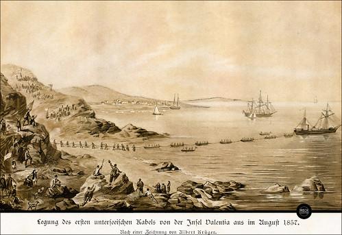 Legung des ersten unterseeischen Kabels von der Insel Valentia aus im August 1857