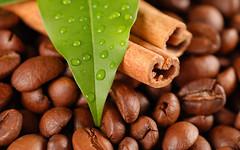 Coffee beans and cinnamon (Nick Leo Wylie) Tags: coffee crop bean caffeine drink breakfast morning cafe espresso addiction java food heat brown black perfume refreshment background texture pattern spice ingredient cinnamon condiment stick leaf nature
