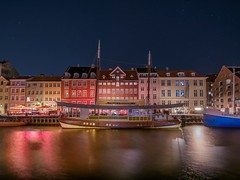 a starry windy night (karinavera) Tags: travel nikond5300 reflections copenhague urban street colors canals water nyhavn cityscape longexposure city copenhagen