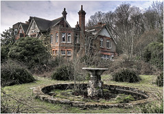 Potters Manor (Steve's Photography :-)) Tags: trees windows house fountain garden pond decay brokenglass waterfeature derelict hdr chimneys decaying steveclancy pottersmanor