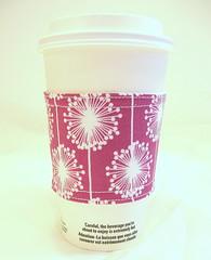 Coffee Sleeve Wishing Flower - Jewel (boutiquekarma) Tags: purple dandelion drivethru takeout grape allergy ecofriendly coffeesleeve coffeecuff wishingflower reusablecoffee