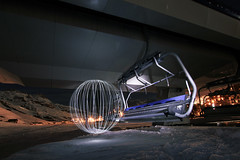 Light Orb on a Ski Lift ([inFocus]) Tags: light white mountain snow ski france cold night canon ball dark painting stars chair long exposure skiing lift orb led sphere after tignes valclaret