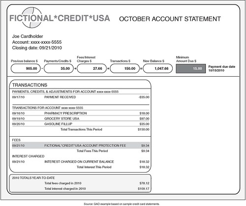 sample credit card statement. credit card billing statement.