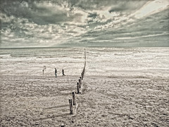 sometimes they just walk away (a.c.thomas) Tags: uk sea sky beach devon textured groynes teignmouth