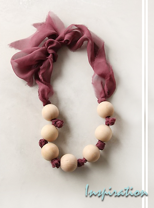 wood bead chiffon nekclace DIY