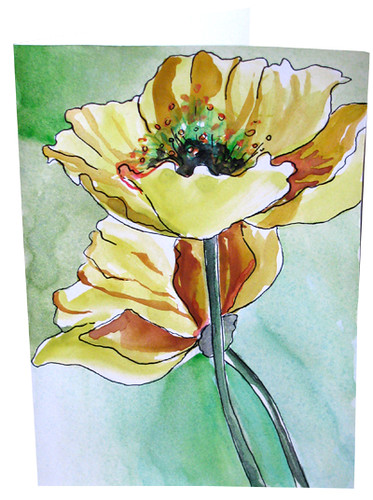 Botanical watercolor hand painted greeting cardss most interesting hand painted poppy watercolor greeting cards flower note card golden poppies m4hsunfo