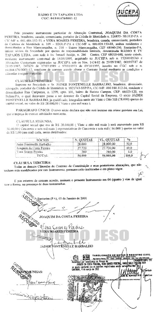 Jader: 50% da TV e rádio Tapajós