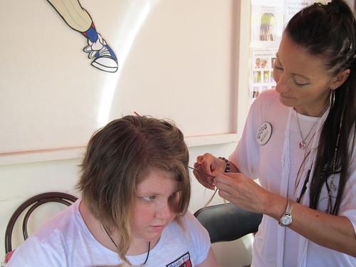 Amy getting braids