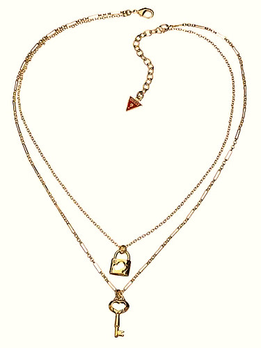 GUESS Lock & Key Two Row Necklace (Gold)