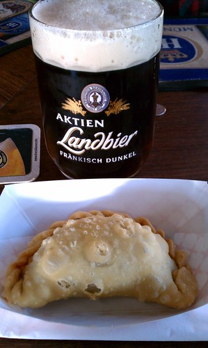 Beef Empanada and a beer