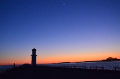 Moon in Sunset (Mehnaz S. Rahman) Tags: sunset sun moon evening nikon montreal lasalle rahman nikkor lachine sunmoon canda mehnaz 18105mm d7000 mehnazsrahman