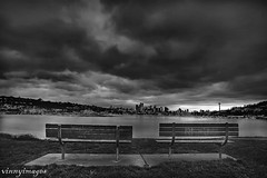 Stormy Morning (Vinnyimages) Tags: seattle city bw sunrise bench washington spring northwest gasworks lakeunion washingtonstate vinnyimages wwwvinnyimagescom