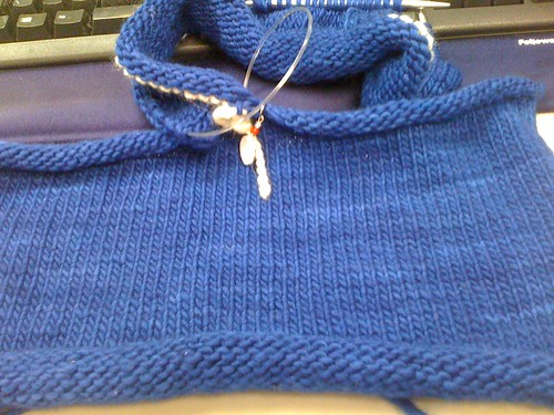 Blue sweater of happiness in progress!