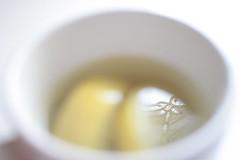 Quaint. (-SarahElizabethPhotography-) Tags: white reflection cup water yellow fruit soft tea lemons honey 365 dayone quaint sick medecine remedy
