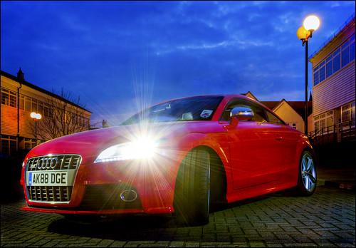 Red Audi TT at Dusk