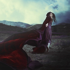 what keeps you warm (brookeshaden) Tags: red selfportrait mountains fairytale running fantasy cloak chased brookeshaden