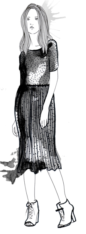Black Sheer Midi Dress - Sketch