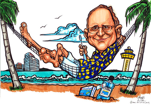 Caricature on hammock for J Walter Thompson Singapore Pte Ltd