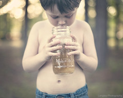 ~109/365~ Tadpoles (DocUNC) Tags: trees boy summer portrait feet canon vintage river child sweet bokeh quote mason steps pad naturallight jeans masonjar frogs jar tadpoles 365 project365 5dmk2 docunc