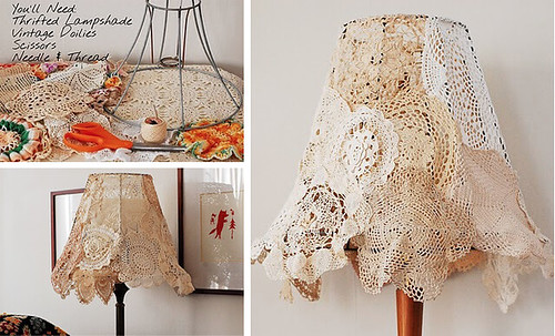 DIY Vintage Doily Lampshade