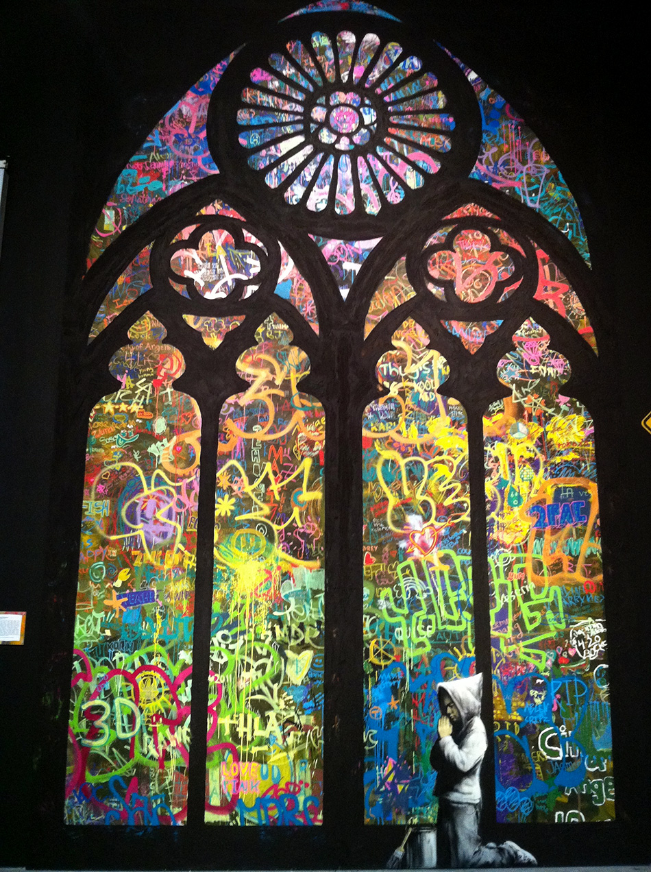 Stained Glass by Banksy & City Of Angels students- Photographs ©2011 Mike Macadaan, CC BY 2.0