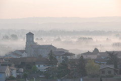 Serrire Church (Ezechield) Tags: morning church sunrise steam vale maison matin rhone valle serriere bruillard